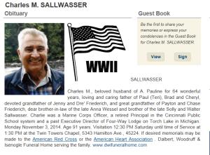 Charlie Sallwasser obit November 2014